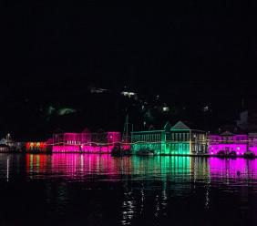 The Carenage in Grenada was decorated with colourful lights for the Festival of Lights. Photo courtesy the Grenada Tourism Authority