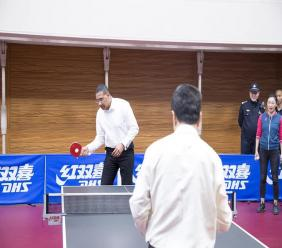 Prime Minister Andrew Holness plays a game of  table tennis during his official visit to China recently.