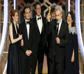 "This image released by NBC shows filmmaker Sam Mendes accepting the award for best motion picture drama for ""1917"" at the 77th Annual Golden Globe Awards at the Beverly Hilton Hotel in Beverly Hills, Calif., on Sunday, Jan. 5, 2020. (Paul Drinkwater/NBC via AP)"