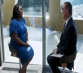 Director of Tourism Mrs Rosa Harris talks with Business Correspondent, Andrew Wilson