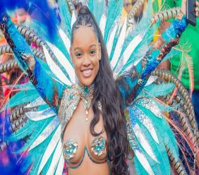 Gina Davis, a happy GLAM Hub customer at Jamaica Carnival