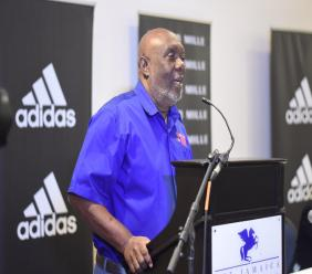 Glen Mills, Chairman of the Racers Grand Prix Organising Committee, makes a presentation at a Press Conference at the Jamaica Pegasus Hotel in New Kingston on Thursday, January 23, 2020. (PHOTO: Marlon Reid).