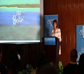 Director General Joy Jibrilu talking about The Bahamas' performance in 2019 at the CHTA Travel Marketplace last week