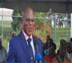 Minister of Home Affairs Edmund Hinkson speaking at the Retirement of Assistant Superintendent of Prisons Cedrick Moore.