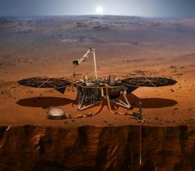 Photo du 27 avril 2018 diffusée par la Nasa du robot InSight lancé le 5 mai 2018 pour une mission sur Mars