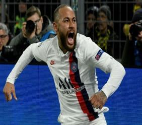 La star du PSG Neymar après son but à Dortmund en Ligue des champions, le 18 février 2020 afp.com - Sascha SCHÜRMANN