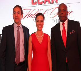 (From left) Campion College Hall of Fame inductees, Wisynco CEO Andrew Mahfood; Foreign Affairs Minister, Senator Kamina Johnson Smith; and Integrity Commission Executive Director Greg Christie at school's 10th Hall of Fame Dinner held at the Spanish Court Hotel in St Andrew on Friday, February 21.