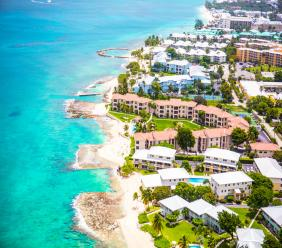 Aerial view of Grand Cayman, Cayman Islands via iStock.