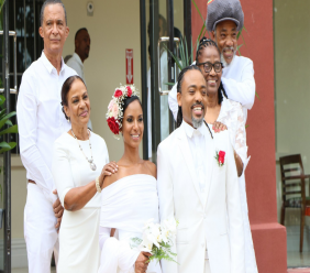 Machel Montano and Renee Butcher got married in the first ceremony to be held in the refurbished Red House on Valentine's Day. © 2020 Office of the Parliament. All rights reserved.