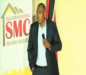 HDC Managing Director Brent Lyons speaks at the launch of the Small and Medium-sized Contractors (SMC) Housing Initiative.
