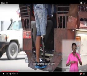 Capture d'écran d'une vidéo de sensibilisation réalisée par l'association Vision pour les Personnes Handicapées en Haïti (VIPHA)