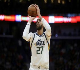 Rudy Gobert de l'Utah Jazz lors du match de NBA face aux Pelicans, à La Nouvelle-Orléans, le 16 janvier 2020
