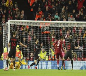 Action from the second leg, round of 16, Champions League football match between Liverpool and Atletico Madrid at Anfield stadium in Liverpool, England, Wednesday, March 11, 2020. (AP Photo/Jon Super).