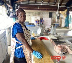 Brenda Cox Fish Market vendor, Kathy Doughty.