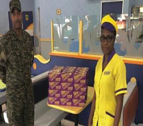 Barbados Defence Force rep collects 6,000 meals donated by Chefette for the frontline essential workers.