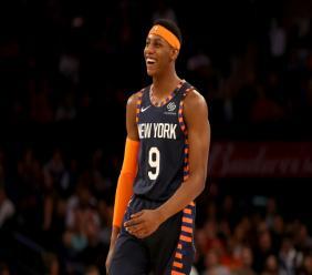 RJ Barrett des New York Knicks lors d'un match de NBA contre les Chicago Bulls au Madison Square Garden de New York le 29 février 2020