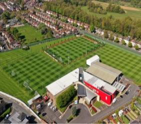 An aerial view of Liverpool's Melwood training ground.