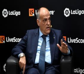 Javier Tebas, le président de la Ligue de foot en Espagne (LaLiga), le 12 septembre 2019 à Madrid