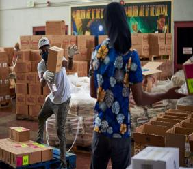 Angostura employees pack hampers