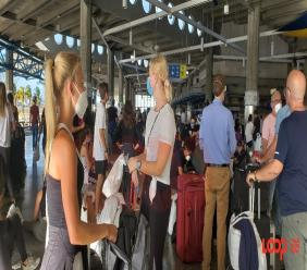 Crew members waiting to board their rescue flight from Bridgetown, Barbados to Heathrow, London.