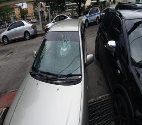 The windshield of a car smashed by a stone at the Besson Street Police Station