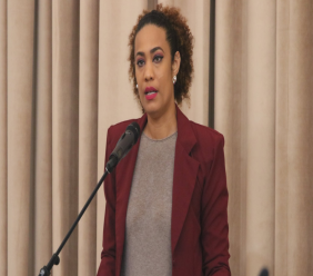 Opposition Senator Khadijah Ameen joins the debate on private motion, calling on the Government to ensure the protection of leased lands to General Earth Movers Limited / Marilissa Farms Limited. © 2020 Office of the Parliament. All rights reserved.