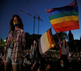 Des jeunes prennent part à un rassemblement LGBT à Jérusalem le 28 juin 2020, sur fond de l'épidémie de Covid-19 afp.com - MENAHEM KAHANA