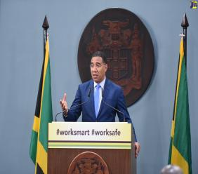 Prime Minister Andrew Holness at the latest Jamaica House COVID-19 press briefing on Monday.