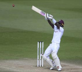 West Indies' Jermaine Blackwood plays a shot during the fifth day of the first cricket Test match between England and West Indies, at the Ageas Bowl in Southampton, England, Sunday, July 12, 2020. (Mike Hewitt/Pool via AP)