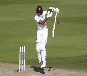West Indies' Shane Dowrich bats during the third day of the first cricket Test match against England, at the Ageas Bowl in Southampton, England, Friday, July 10, 2020. (Adrian Dennis/Pool via AP).