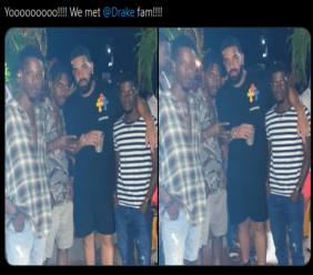Bajan fans with Canadian rapper Drake' in St Lawrence Gap on Sunday night.