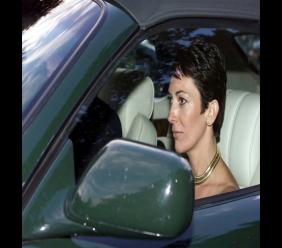 In this Sept. 2, 2000 file photo, British socialite Ghislaine Maxwell, driven by Britain's Prince Andrew leaves the wedding of a former girlfriend of the prince, Aurelia Cecil, at the Parish Church of St Michael in Compton Chamberlayne near Salisbury, England. The FBI said Thursday July 2, 2020, Ghislaine Maxwell, who was accused by many women of helping procure underage sex partners for Jeffrey Epstein, has been arrested in New Hampshire. (Chris Ison/PA via AP, File)
