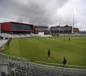 A general view of the field during day three of a West Indies warm up match at Old Trafford in Manchester, England, Wednesday,  July 1, 2020.  (Gareth Copley/Agency Pool via AP).