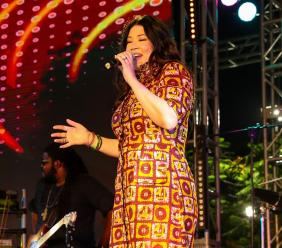 "Tessanne Chin belted out her songs such as ""Hideaway""; ""Anything is Possible"" and had her audience transfixed with a cover of the classic ""Like a Bridge Over Troubled Water""."
