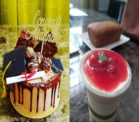 Vision Catering custom cake (left) and cherry cheesecake cup (right)