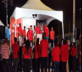 PNM leader Dr Keith Rowley addressing supporters in his victory speech tonight. (Photo: Darlisa Ghouralal)