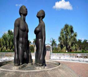 File Photo of the Trafalgar Road entrance to the Emancipation Park in Kingston, which features Laura Facey's Redemption Song monument.