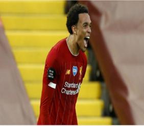 Liverpool full-back Trent Alexander-Arnold celebrates.
