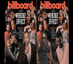 At left is the artwork for the Billboard cover story on the Verzuz series, while at right is the photoshopped version which features dancehall legends Beenie Man and Bounty Killer.