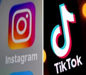 Avec son nouveau service Reels, Instagram veut concurrencer TikTok. [DENIS CHARLET / AFP et Lionel BONAVENTURE / AFP]