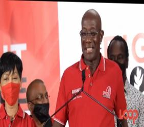 Prime Minister Dr Keith Rowley declares PNM's victory at the polls on election night, August 10, 2020.