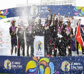 Trinbago Knight Riders celebrate winning the Hero Caribbean Premier League final against St Lucia Zouks, at the Brian Lara Cricket Academy in Tarouba, Trinidad and Tobago, on Thursday, September 10, 2020. (Photo by Randy Brooks - CPL T20/CPL T20 via Getty Images).