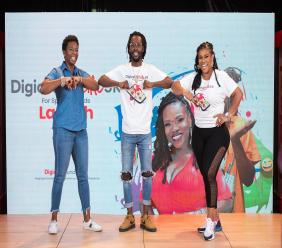 (From left) Allison Philbert, CEO of Digicel Jamaica with Digicel ambassadors Jesse Royal and Miss Kitty at the launch of the Digicel 5K Virtual Run on Wednesday.