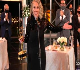 "In this video grab captured on September 20, 2020, courtesy of the Academy of Television Arts & Sciences and ABC Entertainment, Catherine O'Hara accepts the award for outstanding lead actress in a comedy series for ""Schitt's Creek"" during the 72nd Emmy Awards broadcast. (The Television Academy and ABC Entertainment via AP)"