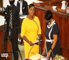 Juliet Holness being sworn in as Member of Parliament on Tuesday.