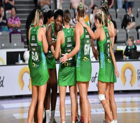 Jamaica's Jhaniele Fowler (center) during her record-breaking performance for the West Coast Fever on Saturday at the Nissan Arena in Brisbane. (Photo - Suncorp Super Netball League)
