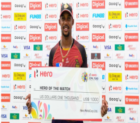 Lendl SImmons receives the Man of the Match award after the 2020 Caribbean Premier League final between Trinbago Knight Riders and St Lucia Zouks at the Brian Lara Cricket Academu on 10th September 2020. (Photo by Randy Brooks - CPLT20/Getty Images)