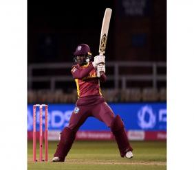 West Indies women's captain Stefanie Taylor batting during a losing effort in the 2nd T20I against England at Derby on 23rd September 2020. (Photo courtesy Cricket West Indies Media)