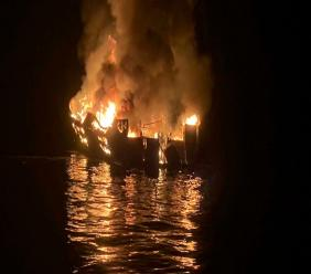In this September 2, 2019, file photo provided by the Santa Barbara County Fire Department, the dive boat Conception is engulfed in flames after a deadly fire broke out aboard the commercial scuba diving vessel off the Southern California Coast. (Santa Barbara County Fire Department via AP, File)