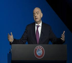 In this file photo dated Tuesday, March 3, 2020, FIFA President Gianni Infantino addresses a meeting of European football leaders at the congress of the UEFA governing body in Amsterdam, Netherlands. Infantino has tested positive for COVID-19. (AP Photo/Peter Dejong, FILE).